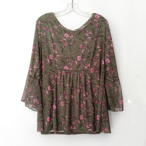 Westport Green and Pink Floral Boho Blouse
